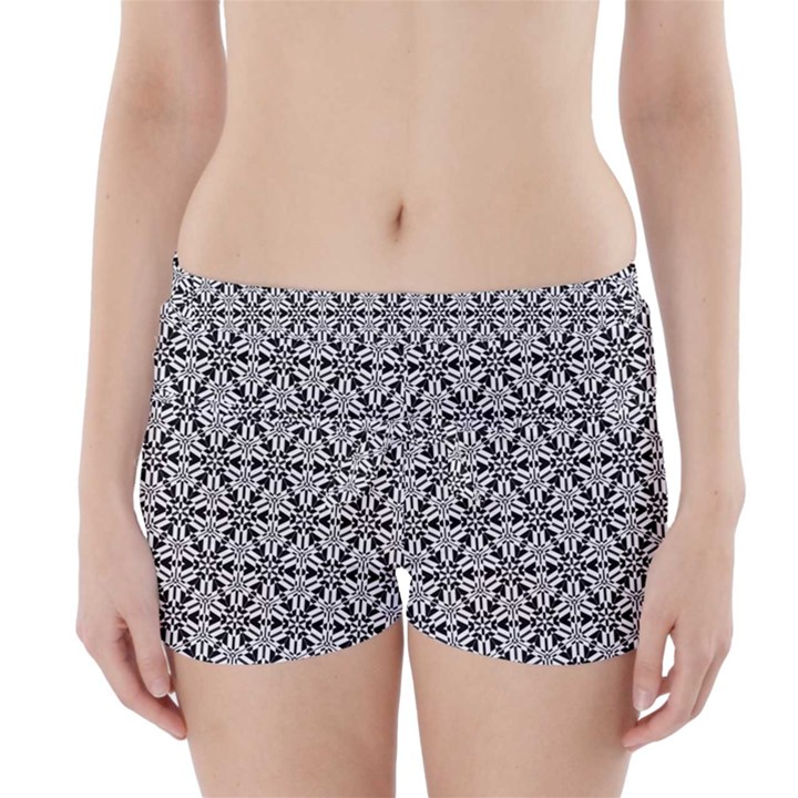 Ornamental Checkerboard Boyleg Bikini Wrap Bottoms