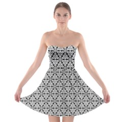 Ornamental Checkerboard Strapless Bra Top Dress