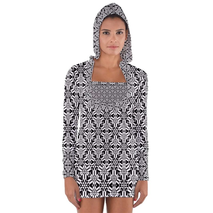 Ornamental Checkerboard Long Sleeve Hooded T-shirt