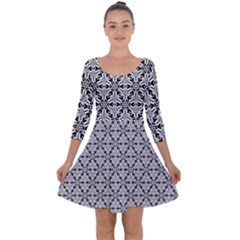 Ornamental Checkerboard Quarter Sleeve Skater Dress