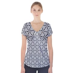 Ornamental Checkerboard Short Sleeve Front Detail Top by Mariart