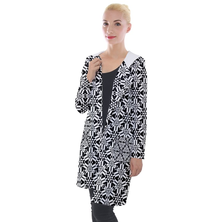 Ornamental Checkerboard Hooded Pocket Cardigan