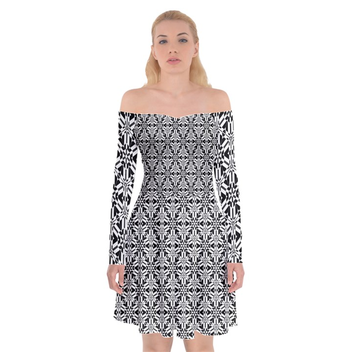 Ornamental Checkerboard Off Shoulder Skater Dress
