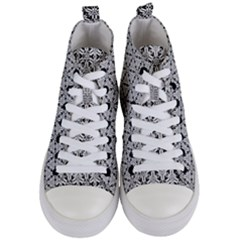 Ornamental Checkerboard Women s Mid Top Canvas Sneakers