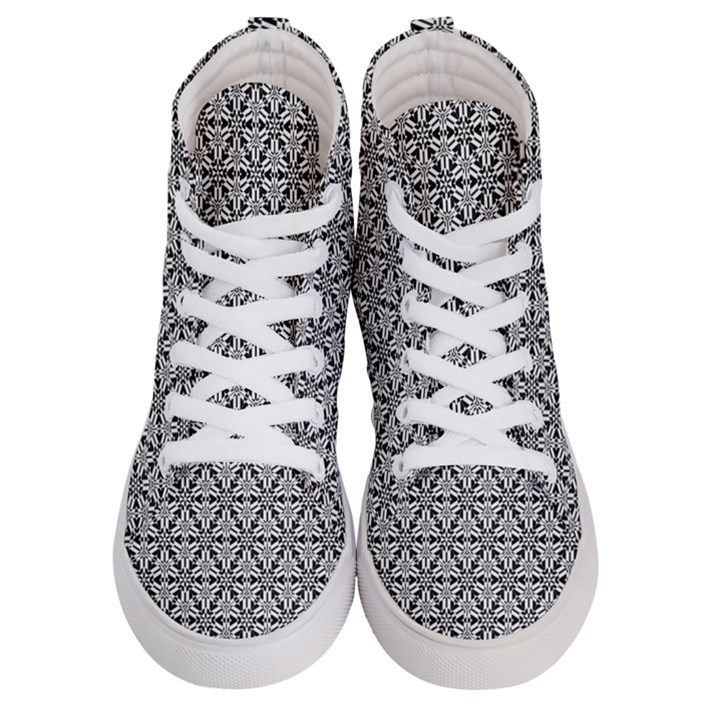 Ornamental Checkerboard Men s Hi-Top Skate Sneakers
