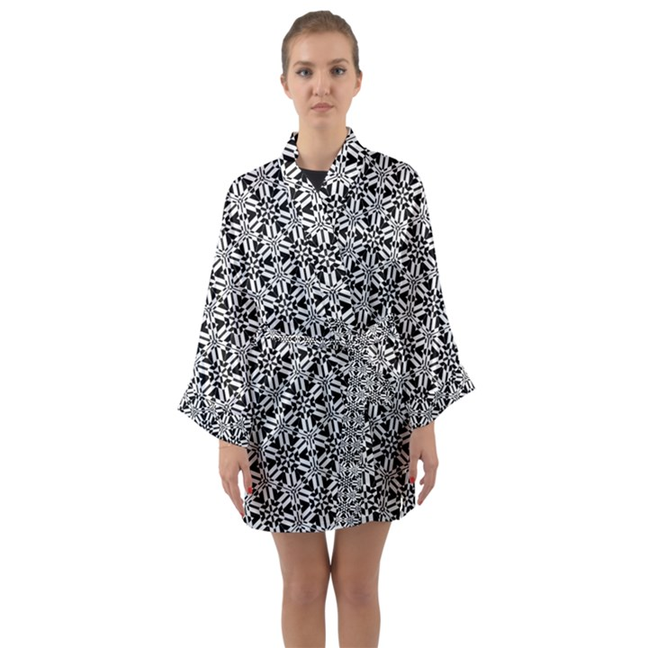 Ornamental Checkerboard Long Sleeve Kimono Robe