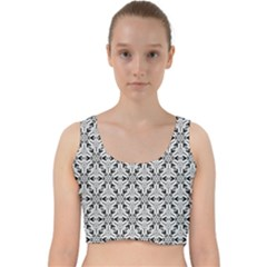 Ornamental Checkerboard Velvet Racer Back Crop Top
