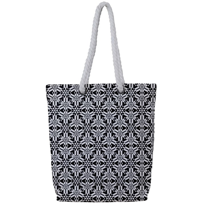 Ornamental Checkerboard Full Print Rope Handle Tote (Small)