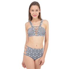 Ornamental Checkerboard Cage Up Bikini Set