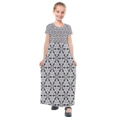 Ornamental Checkerboard Kids  Short Sleeve Maxi Dress