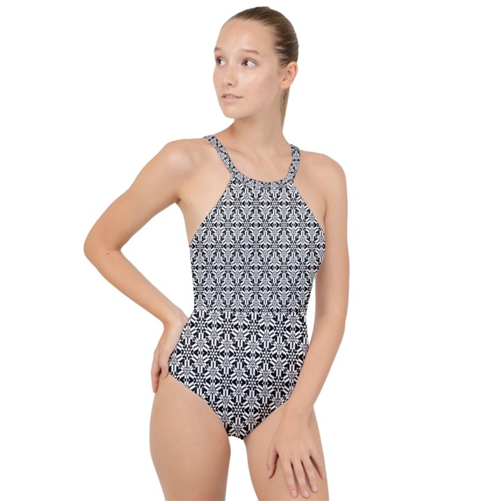 Ornamental Checkerboard High Neck One Piece Swimsuit