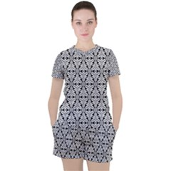 Ornamental Checkerboard Women s Tee And Shorts Set by Mariart