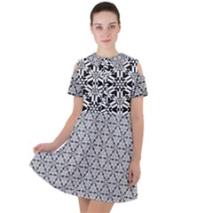Ornamental Checkerboard Short Sleeve Shoulder Cut Out Dress