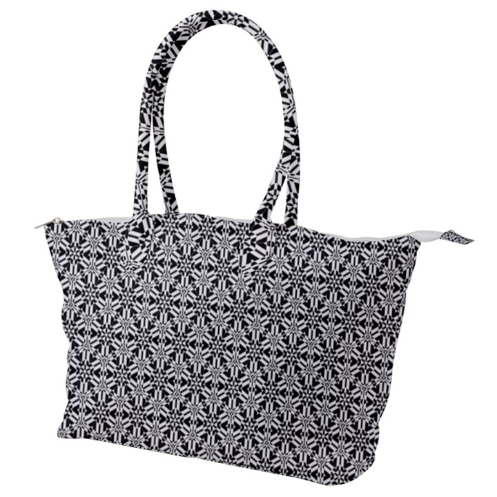 Ornamental Checkerboard Canvas Shoulder Bag