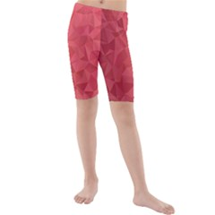 Triangle Background Abstract Kids  Mid Length Swim Shorts