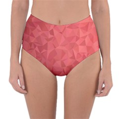 Triangle Background Abstract Reversible High-Waist Bikini Bottoms