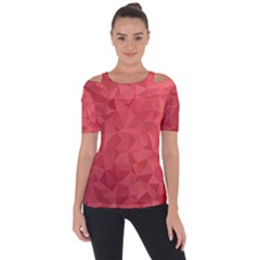 Triangle Background Abstract Shoulder Cut Out Short Sleeve Top