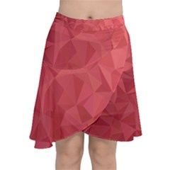 Triangle Background Abstract Chiffon Wrap Front Skirt