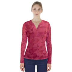 Triangle Background Abstract V-Neck Long Sleeve Top