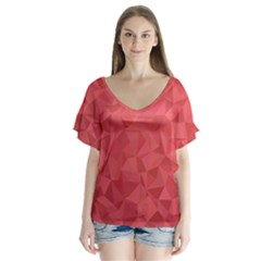Triangle Background Abstract V-Neck Flutter Sleeve Top