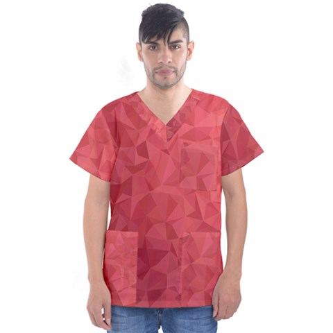Triangle Background Abstract Men s V-neck Scrub Top by Mariart