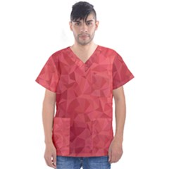 Triangle Background Abstract Men s V-Neck Scrub Top
