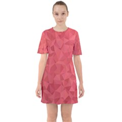 Triangle Background Abstract Sixties Short Sleeve Mini Dress