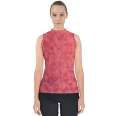 Triangle Background Abstract Mock Neck Shell Top