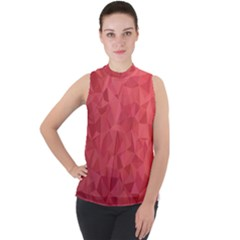Triangle Background Abstract Mock Neck Chiffon Sleeveless Top