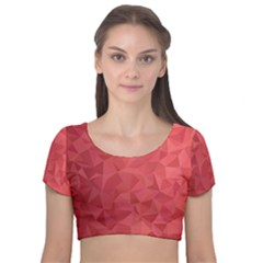 Triangle Background Abstract Velvet Short Sleeve Crop Top
