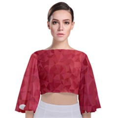 Triangle Background Abstract Tie Back Butterfly Sleeve Chiffon Top