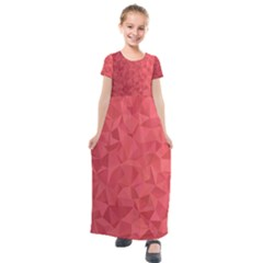Triangle Background Abstract Kids  Short Sleeve Maxi Dress