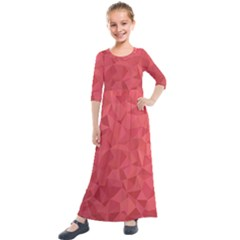 Triangle Background Abstract Kids  Quarter Sleeve Maxi Dress