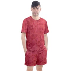 Triangle Background Abstract Men s Mesh Tee and Shorts Set