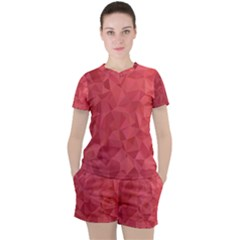 Triangle Background Abstract Women s Tee and Shorts Set