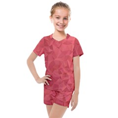 Triangle Background Abstract Kids  Mesh Tee and Shorts Set