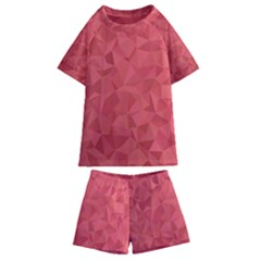 Triangle Background Abstract Kids  Swim Tee and Shorts Set