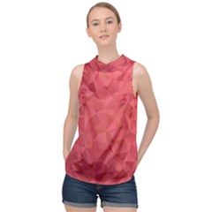 Triangle Background Abstract High Neck Satin Top