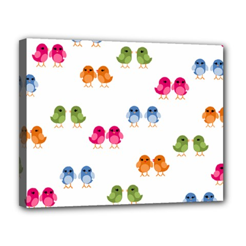 Pattern Birds Cute Canvas 14  X 11  (stretched)