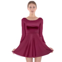 Red Black Pattern Background Long Sleeve Skater Dress