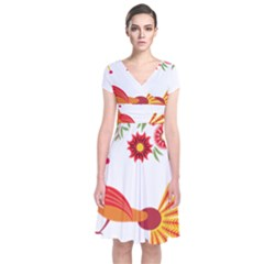 Peacock Pattern Short Sleeve Front Wrap Dress