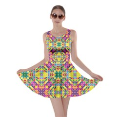 Triangle Mosaic Pattern Repeating Skater Dress
