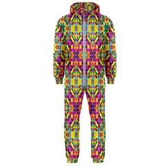 Triangle Mosaic Pattern Repeating Hooded Jumpsuit (men)