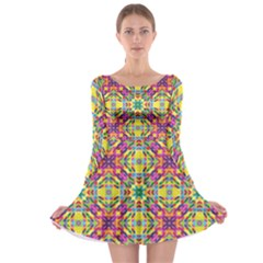 Triangle Mosaic Pattern Repeating Long Sleeve Skater Dress by Mariart