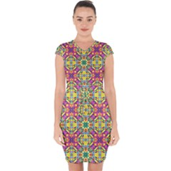 Triangle Mosaic Pattern Repeating Capsleeve Drawstring Dress