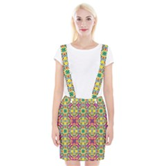 Triangle Mosaic Pattern Repeating Braces Suspender Skirt