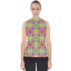 Triangle Mosaic Pattern Repeating Mock Neck Shell Top
