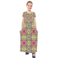 Triangle Mosaic Pattern Repeating Kids  Short Sleeve Maxi Dress by Mariart