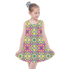 Triangle Mosaic Pattern Repeating Kids  Summer Dress by Mariart