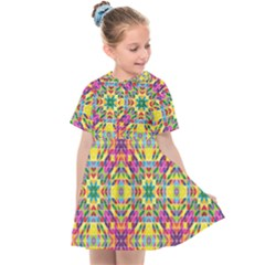 Triangle Mosaic Pattern Repeating Kids  Sailor Dress